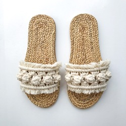 Sandal natural straw shoes isolated woven product macrame work, shoes pack shot, macrame sandals in white background, Bali beach summer traditional craft diy hobby ethnic boho chic Morocco style shoes