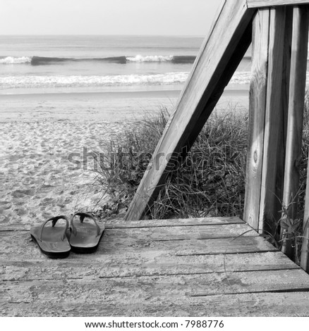 stock photo : Sandals at the Ocean (black and white) Color version in my