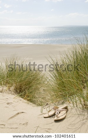 sandals in sand dunes with beach and sea in background