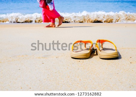 108fd4b4ec2a29 Free photos Flip flops and sunglasses on tropical beach with waves ...