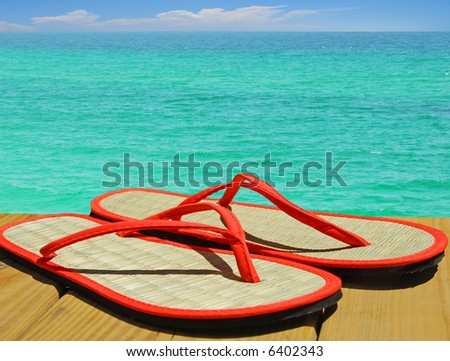 Sandals on Dock Overlooking Gorgeous Sea