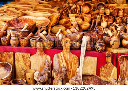 Sandalwood products in tunisian market, Sidi Bou Said, Tunisia.
