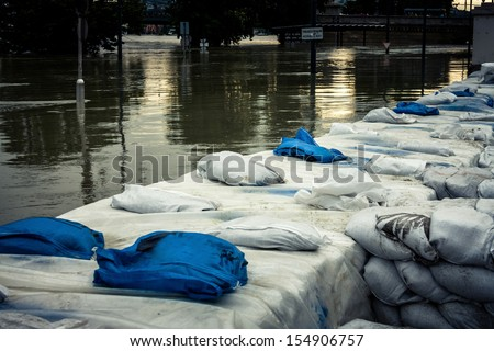 Sandbags at the flood closeup photo