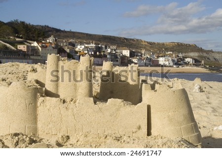 Sandcastle at seaside town
