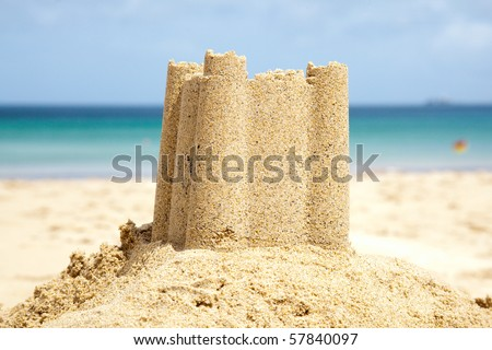 Sandcastle on Carbis Bay beach, St Ives, Cornwall, England,United, Kingdom.