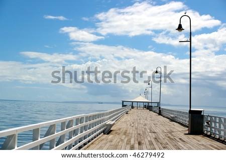 sandgate empty old wooden beach pier background