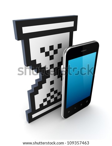 Sandglass 3d icon and modern mobile phone.Isolated on white background.3d rendered.
