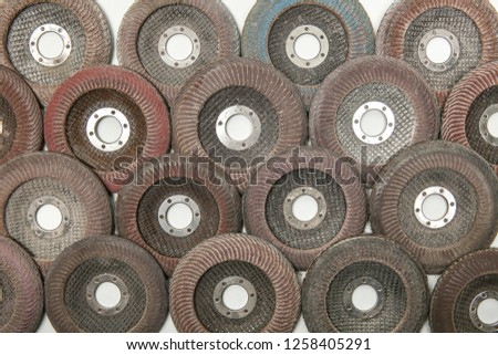 Sanding discs for angle grinder. discs for angle grinder in full frame, view from above