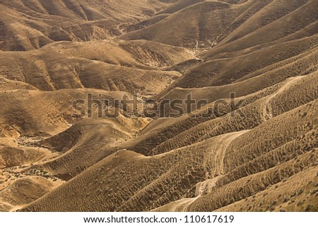 Sands of Judean Desert (Israel), view from a hill