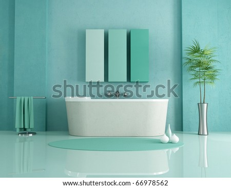 sandstone bathtub in a green modern bathroom - rendering