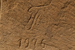 Sandstone blocks with ancient inscriptions
