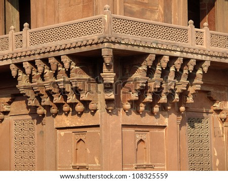 Sandstone carving at Diwan-i-khas in Fatehpur Sikri, Agra, Uttar Pradesh, India - stock photo