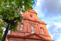 Sandstone facades of the church St. Ignaz in Mainz in summer.