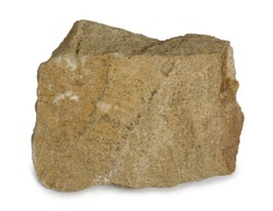 Sandstone mineral stone is composed of quartz and/or feldspar. Sandstone (arenite) is a clastic sedimentary rock composed mainly of sand-sized minerals or rock grains. Isolated on white background.