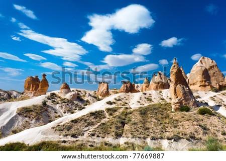 Sandstone rock similar to camel in the Cappadocia, Turkey