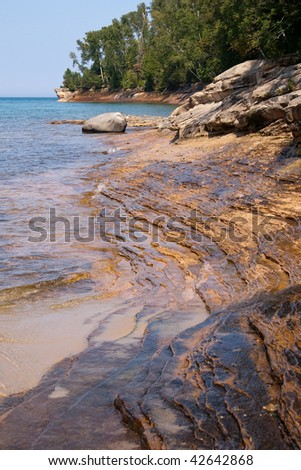 Sandstone shoreline on Lake Superior, Michigan - stock photo