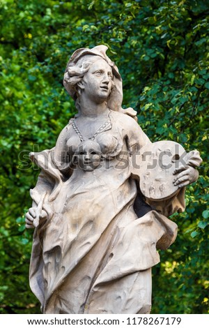 Sandstone statues in the Saxon Garden, Warsaw, Poland. Made before 1745 by anonymous Warsaw sculptor under the direction of Johann Georg Plersch. Statues of Greek mythical muses #1178267179