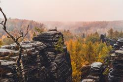 Sandstone Tisa rocks or Tisa walls in Bohemian Switzerland autumn fall dramatic view landscape in Czech-Saxon Switzerland, Czech Republic