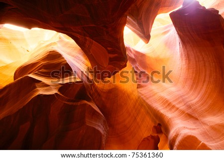 Sandstone walls in Upper Antelope Canyon, Arizona, USA