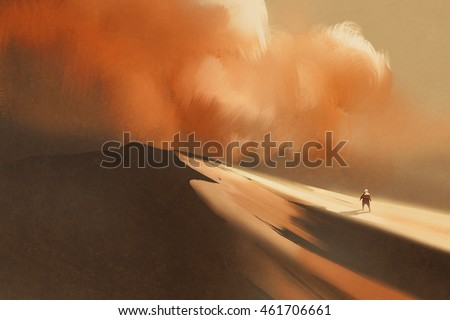 sandstorm in desert and hiking man,illustration,digital painting
