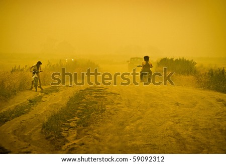 sandstorm on country road