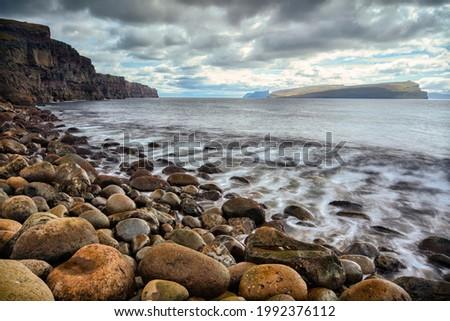 Sandur coastline contre-jour on Sandoy, Faroe Islands Photo stock ©