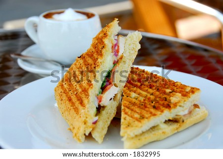 Sandwich and coffee lunch