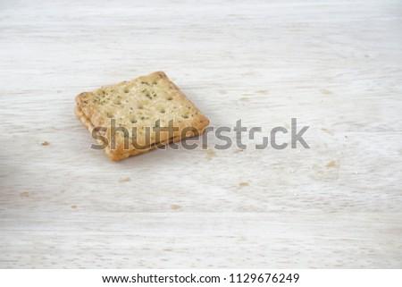 Sandwich calcium cracker with chocolate cream inside #1129676249