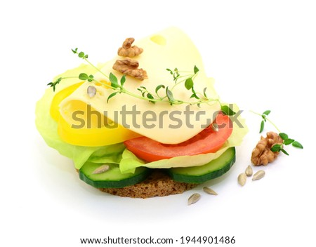 Sandwich, canapé with cheese and vegetables, isolated. Photo stock ©