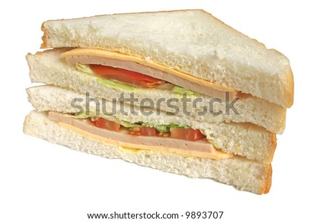 Sandwich done in a simple way on a isolated white background