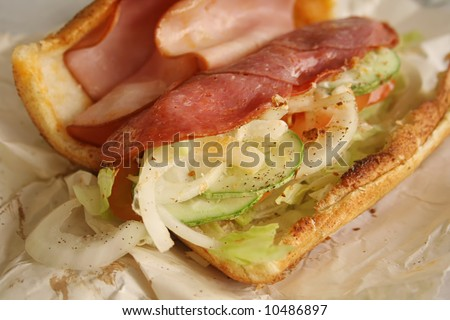 Sandwich Ingredients and Insides of a sub, opened up