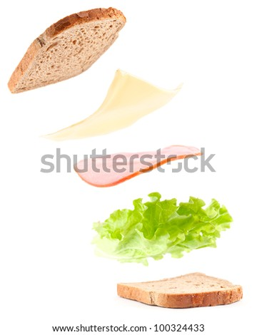 sandwich ingredients in air, isolated on white