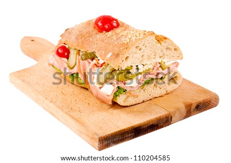 Sandwich isolated on the wooden board