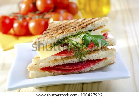 sandwich on white plate