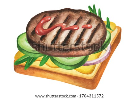 Sandwich watercolor. Fast food meal on watercolor illustration. Painting sandwich isolated on white background. Aquarelle food for restaurant menu design. Watercolor hand drawn food.