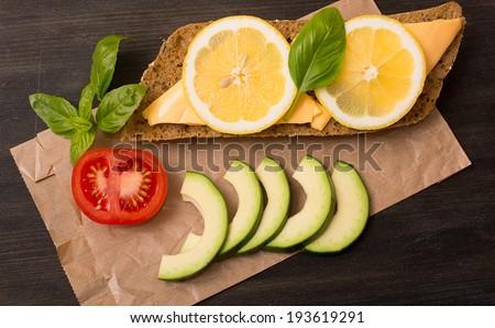 Sandwich with avocado and lemon Stock fotó ©