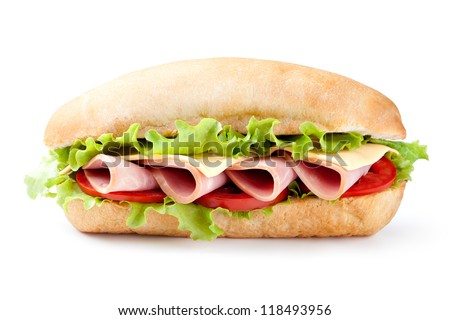 Sandwich with bacon and vegetables on white background