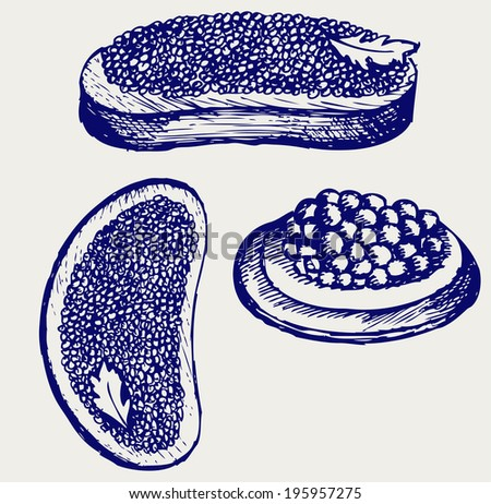 Sandwich with butter and caviar. Doodle style. Raster version