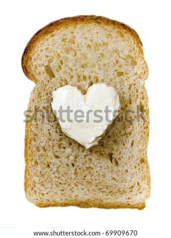sandwich with butter in the shape of a heart isolated on white background