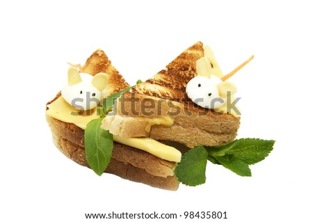 Sandwich with cheese decorated with white mice with quail egg
