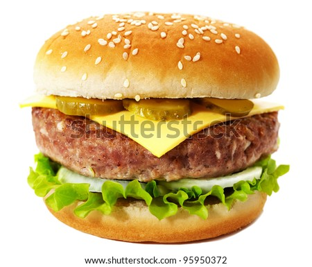 Sandwich with cheese, lettuce, onion, cucumber and beef cutlet. Studio shooting on white background with shadow.