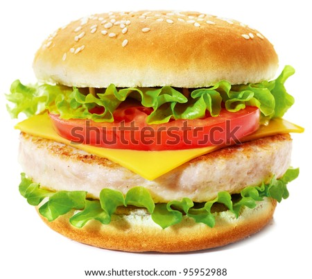 Sandwich with cheese, lettuce, tomato and chicken cutlet. Studio shooting on white background with shadow.