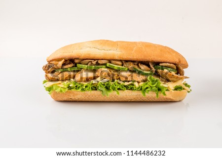 sandwich with chicken, isolated on white background