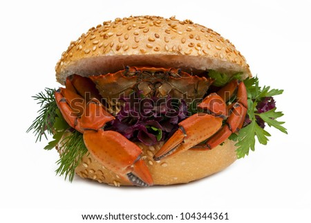Sandwich with crab isolated on white