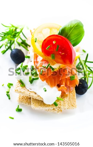 Sandwich with cream cheese and smoked salmon