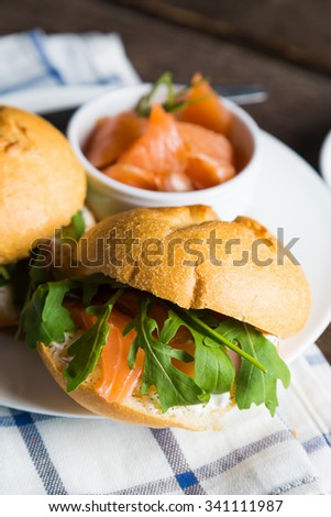 Sandwich with cream cheese salmon and arugula #341111987