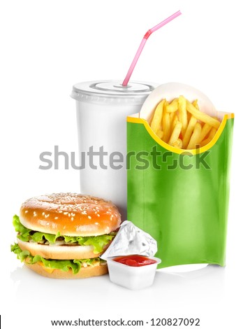 Sandwich with french fries isolated on white background