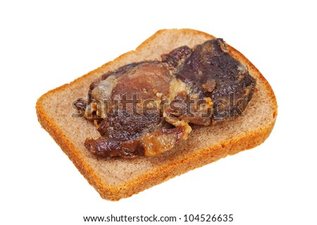 sandwich with fried meat on a white background