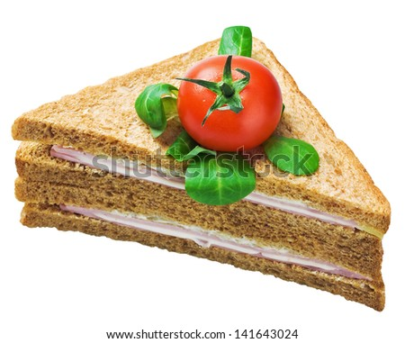 sandwich with ham and cheese isolated on white background - stock photo