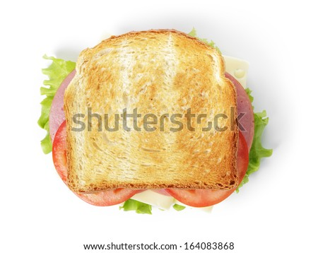 sandwich with ham cheese and vegetables isolated